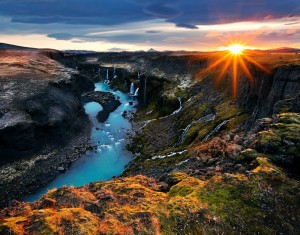 Sigglj, Iceland, waterfalls, canyon, water, river, landscape, limited edition, sunstar,Sig