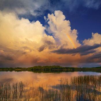 Nine Mile Pond, Everglades National Park, Florida, clouds, rainbow, nature, photography, florida national parks