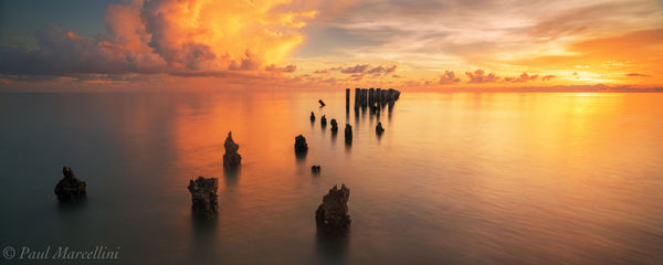 naples, sunset, pilings, beach, florida, nature, photography