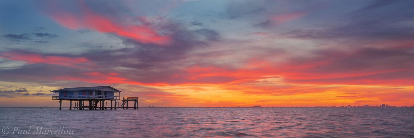 sunset, stiltsville, ellenburg house, florida, biscayne national park, nature, photography, photo
