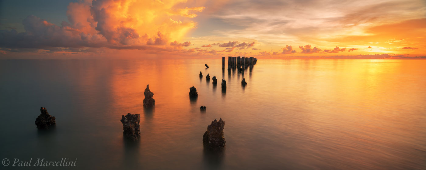 naples, sunset, pilings, beach, florida, nature, photography, photo