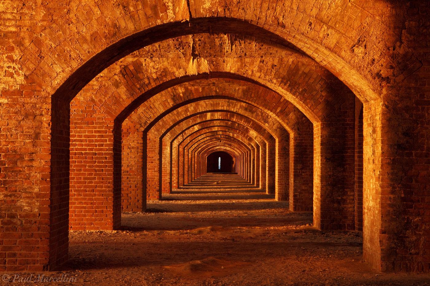 ft. jefferson, dry tortugas, arches, hallway, brick, fort jefferson, arches, florida, south florida, nature, photography, photo