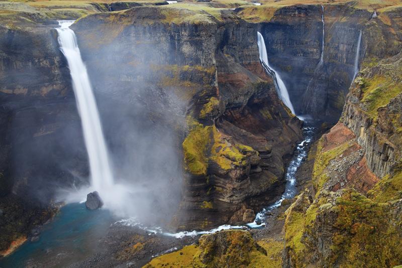 iceland, europe, nordic, Haifoss, waterfall, canyon, photo