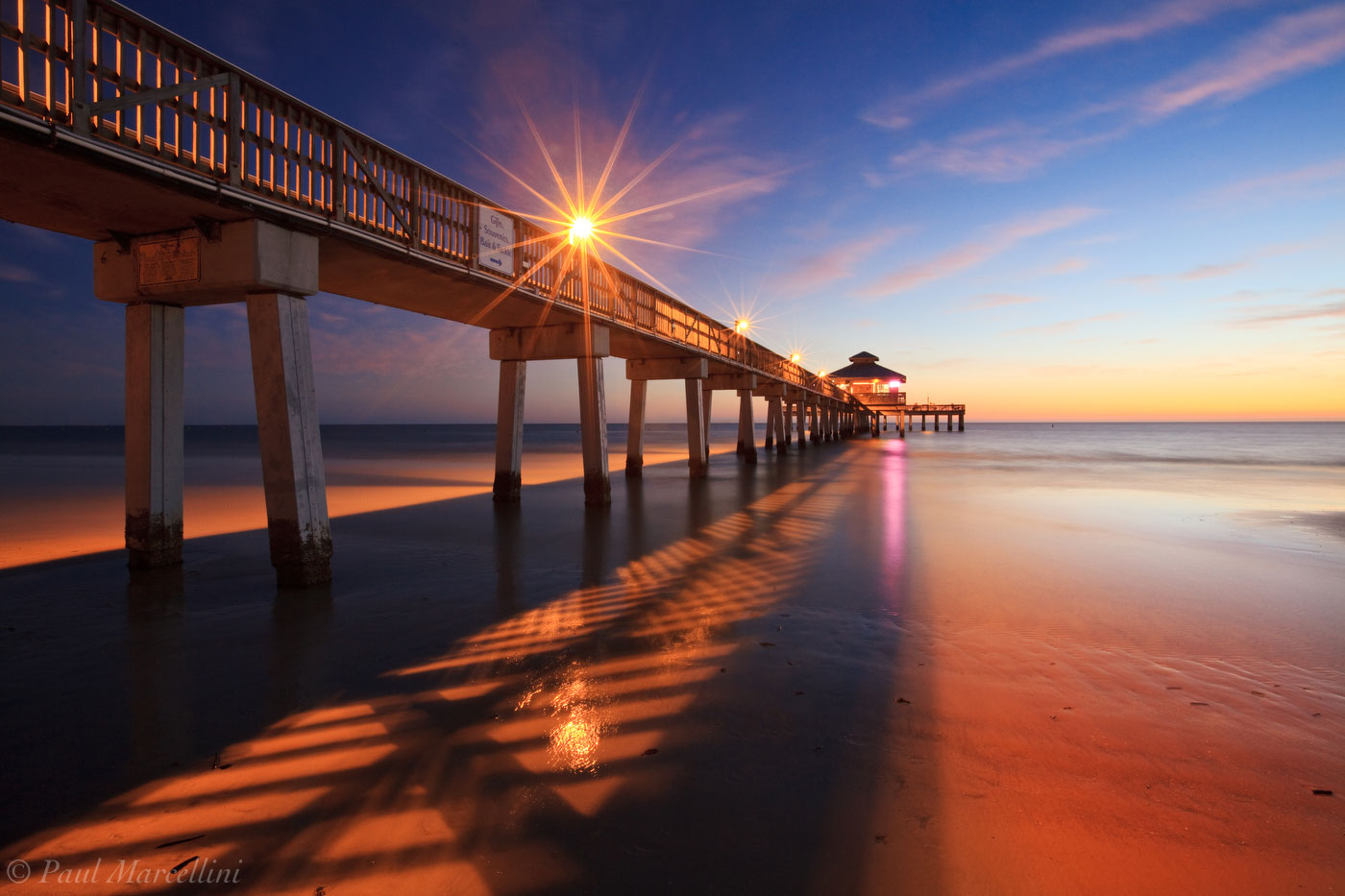 ft. myers beach pier, twilight, florida, south florida, nature, photography,, photo