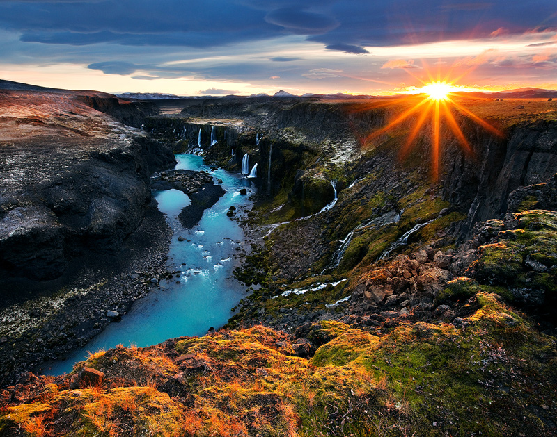 Sigglj, Iceland, waterfalls, canyon, water, river, landscape, limited edition, sunstar,Sig, photo