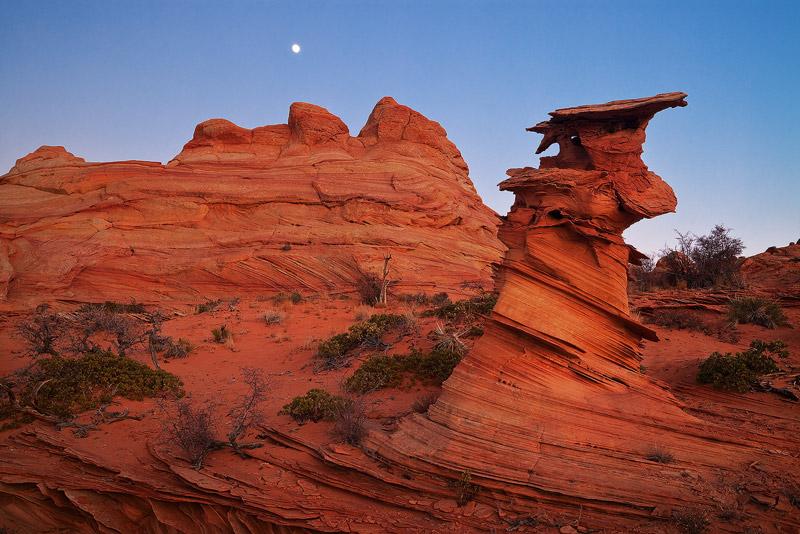 Coyote Buttes South, Vermilion Cliffs National Monument, Arizona, control tower, moon, photo