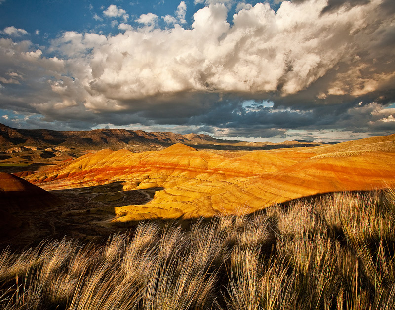 Painted Hills, John Day Fossil Beds, Oregon, storm, photo
