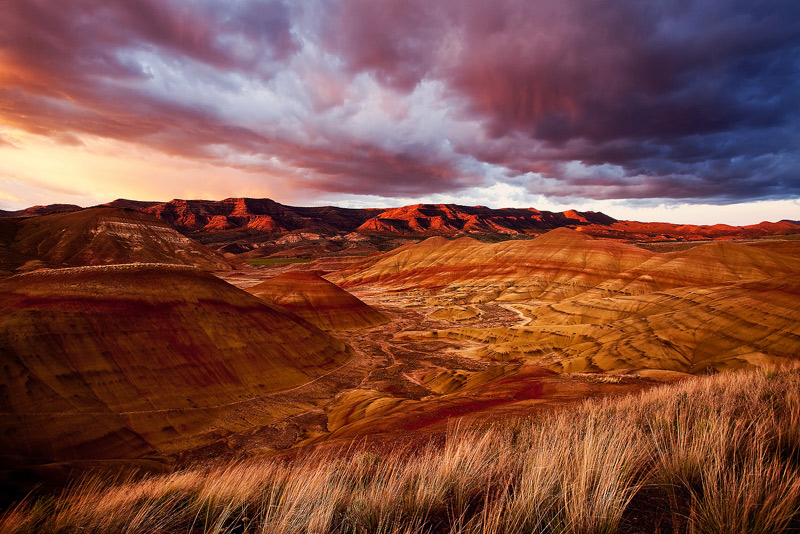 Painted Hills, John Day Fossil Beds, Oregon, sunset, photo