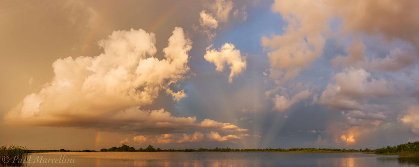 everglades, sunset, lake, anti-crepuscular ray, rainbow, Florida, nature, photography, florida national parks, photo