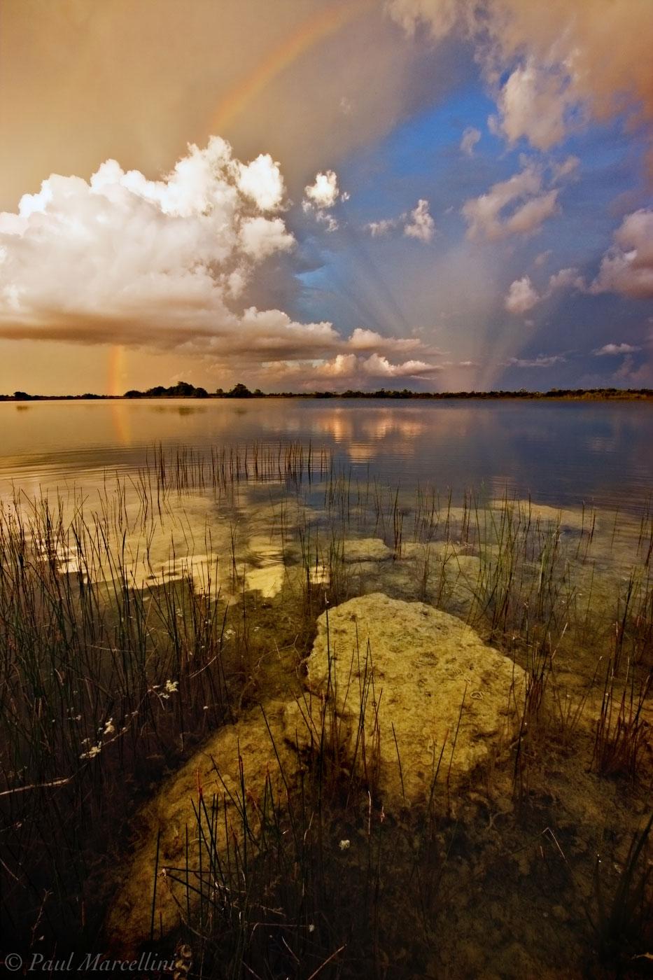 everglades, rainbow, anti-crepuscular rays, lake, reflection, sunset, Florida, nature, photography, florida national parks, photo