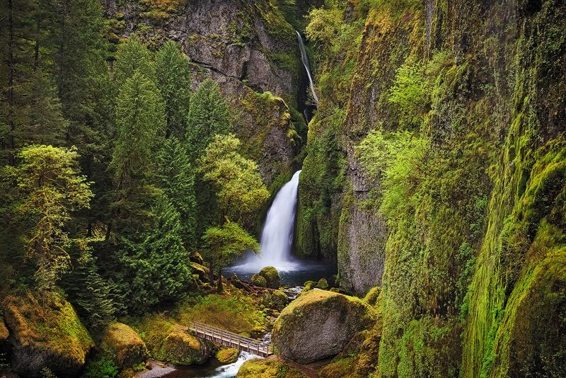 wahchlella falls, columbia river gorge, oregon, spring, photo