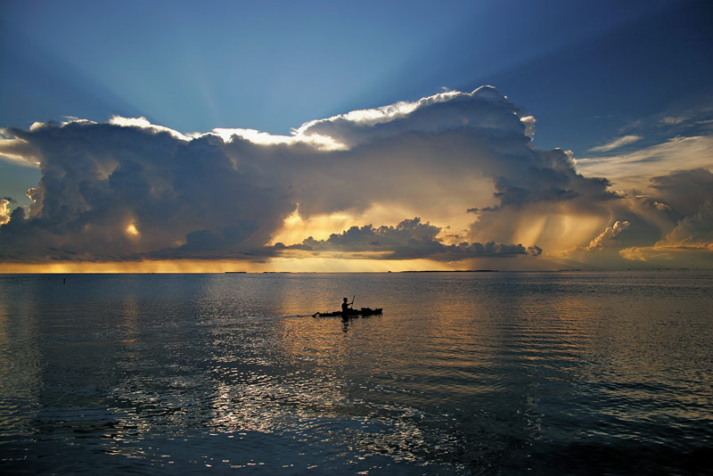 keys, kayaker, stormy, sunset, florida keys, storm, florida, south florida, key largo, nature, photography, photo