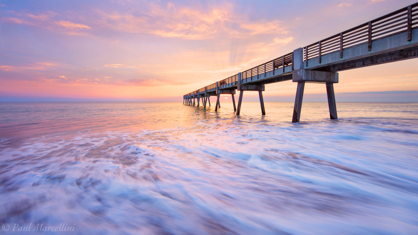vero beach, pier, sunrise, beach, florida, , photo