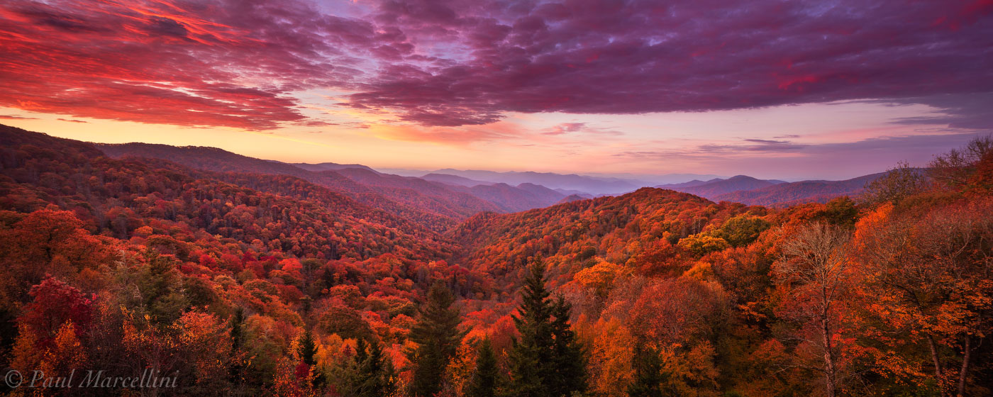 A vibrant fall sunrise looking over the North Carolina side of the Smokies.